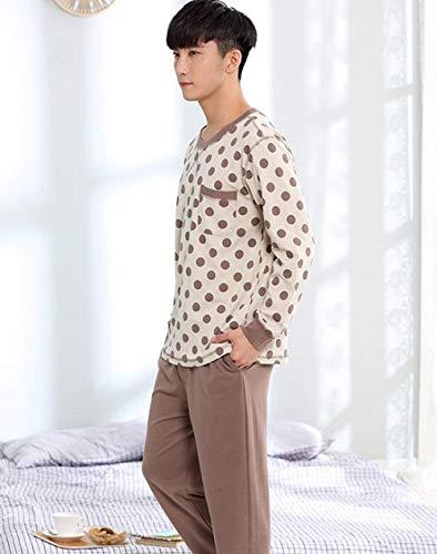 Lunghe Pigiama Set Uomo Comfort Estiva Autunno Casual Primavera A E Pigiameria Brown Due Cotone Targogo Pezzi Top Maniche Vintage Pantaloni wFqdY8qx5