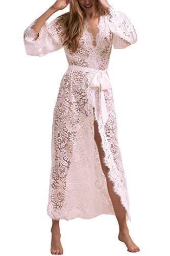 - RanRui Beach Wear White lace Kimono Long Kimono Cardigan Kimono Cover up Bowtie Belt (One Size, 8342-38)
