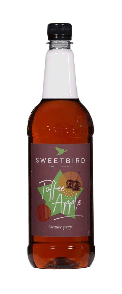 Sweetbird Toffee Apple Flavored Syrup 1 Liter (Vegan, GMO Free, All Natural)
