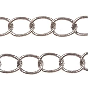 Antiqued silver plated curb chain 4mm bulk by for Craft chain by the foot