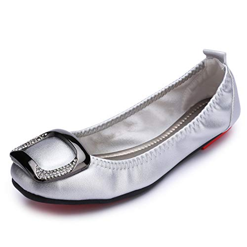 Stylein Womens Foldable Buckle Slip On Ballet Flats Comfortable Square Toe Loafers Silver