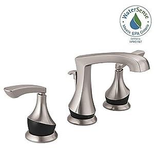 Delta Merge 8 Inch Widespread 2-Handle Bathroom Faucet in SpotShield Brushed Nickel/Matte Black