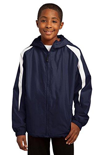(Sport-Tek Boys Fleece-Lined Colorblock Jacket (YST81) -True Navy/ -XL)