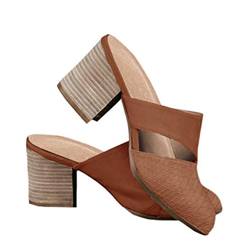 Ermonn Women's Slip On Mules Cutout Pointed Toe Chunky Block Heel Backless Slide Sandals Shoes