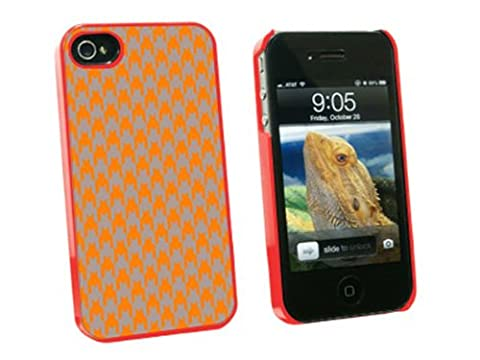 Graphics and More Preppy Houndstooth Orange Gray Snap-On Hard Protective Case for Apple iPhone 4/4S - Non-Retail Packaging - (Iphone 4 Case Preppy)