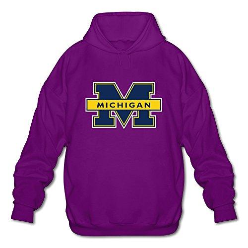 New TBTJ Men's NCAA Michigan Wolverines Logo Hooded Pullover SweatshirtPurple X-Large