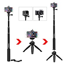 "Luxebell Selfie Stick Telescoping Pole with Tripod Stand Mount for Gopro Hero4, Hero3+ Hero3, Hero+ LCD, Session Camera and 1/4"" Threaded Hole Compact Cameras & Cell Phones (Black w/ Tripod)"