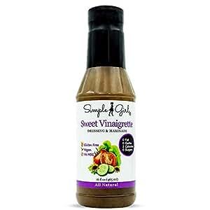 Simple Girl Sweet Vinaigrette Sugar-Free Salad Dressing - 16 oz - Diabetic Friendly - Vegan - Carb Free - Gluten Free - Fat Free - Low Calorie Diet Friendly