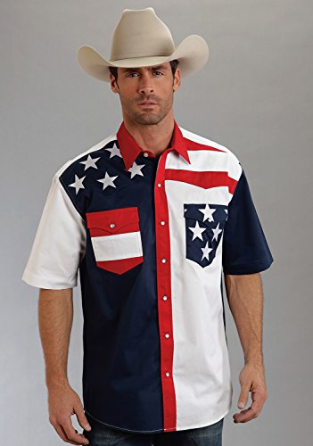 Roper Men's Americana Collection Short Sleeve Stars and Stripes Western Shirt Patriotic Small