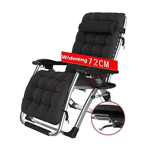 Deck Chair Sun loungers Garden Adjustable Patio Recliner Outdoor Leisure Camping Chair Cabin Seat Folding (Color : Black)