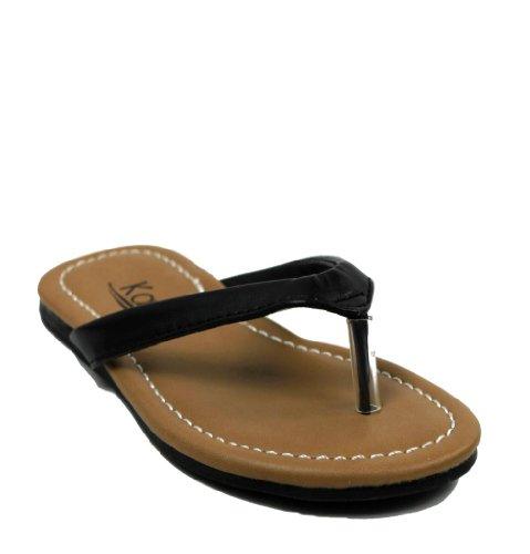 Kali Footwear Girl's Cocoa-Jr. Flip Flop Flat Sandal 3,Black