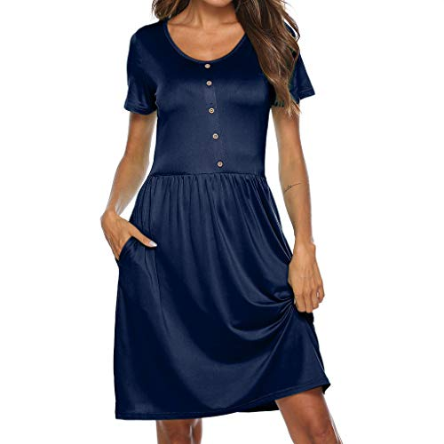 (Seaintheson Women's Casual Round Neck Button Short Sleeve Loose Party Mini Dress Navy)