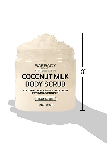 Baebody Coconut Milk Body Scrub: With Dead Sea Salt, Almond Oil, and Vitamin E. - Exfoliator, Moisturizer Promoting Radiant Skin 12oz. by Baebody (Image #4)