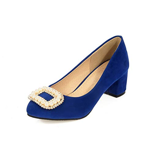 BalaMasa Womens Solid Beaded Fashion Urethane Pumps Shoes APL10452 Blue