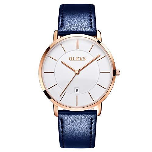 OLEVS Ultra Thin Minimalist Slim Big Face Date Blue Leather Dress Watches for Men Male Teen Boys Waterproof Simple Casual White Large Dial Rose Gold Bezel Analog Quartz Wrist Watch Classic Band Gift
