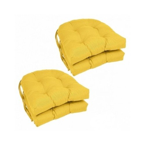 Set of 4 Modern 16-inch U-shaped Tufted Twill Dining Chair Cushions Includes Cross Scented Candle Tart (Yellow)
