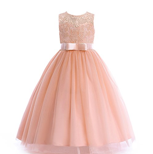 Glamulice Girls Lace Bridesmaid Dress Long A Line Wedding Pageant Dresses Tulle Party Gown Age 3-14Y (3-4Y, Peach)]()