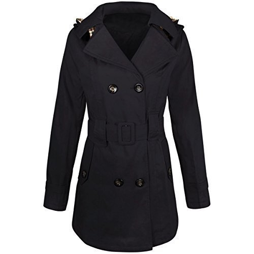 WOMENS LADIES DOUBLE BREASTED MAC BELTED COAT CANVAS SMART JACKET TRENCH PARKA Navy Blue