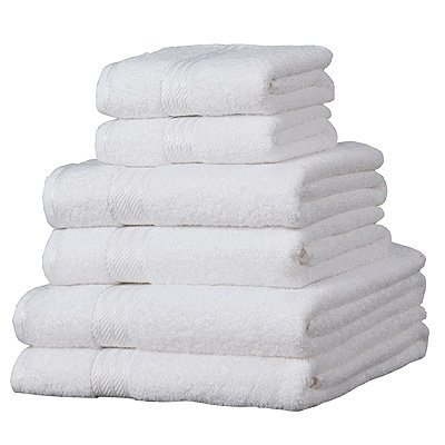 Linens Limited Supreme 100% Egyptian Cotton 6 Piece Hotel Towel Set, White