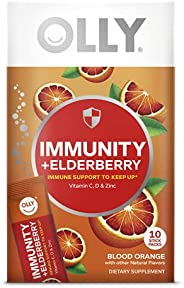 OLLY Immunity + Elderberry Powder, 10 Packets, Blood Orange, Vitamin C, D and Zinc Daytime Immune Support Fizz