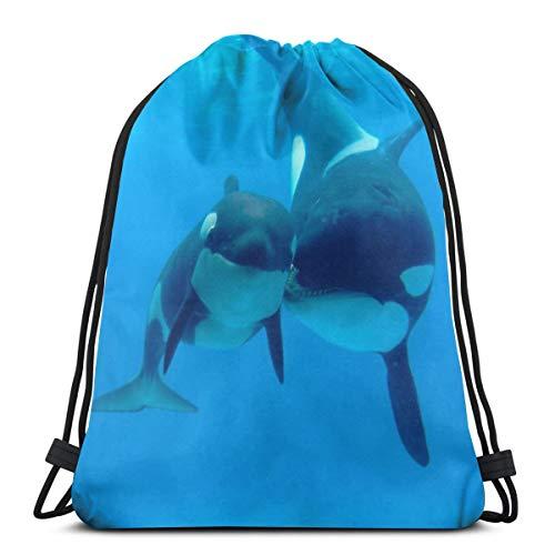 Panda Baby Killer Whale Drawstring Bag Backpack Travel Gymsack Drawstring Backpack Sackpack -