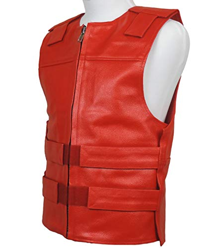 Red Leather - Bulletproof Style Motorcycle Vest -