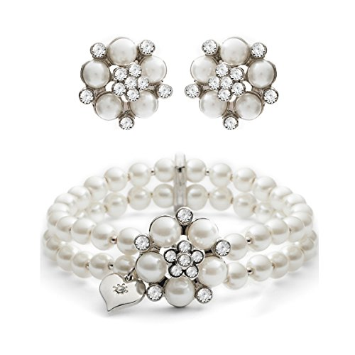 Audrey Pearl Stud Earring & Audrey Pearl Stretch Bracelet (Cream) (Tiffany Set Stud)