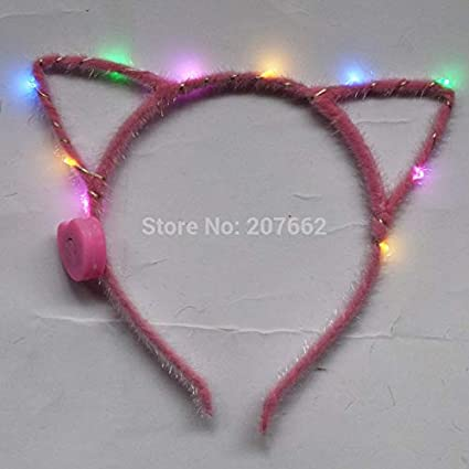 UATECH 200pcs/lot Light Up cat Ear Blinking Led Headband Women Girl Birthday Glow Party Supplies Wedding Hair Accessories 5239 Light-Up Toys
