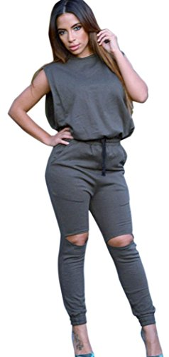 [Blorse Slit Wide Open Jumpsuit (Grey)] (Womens Army Costumes Australia)