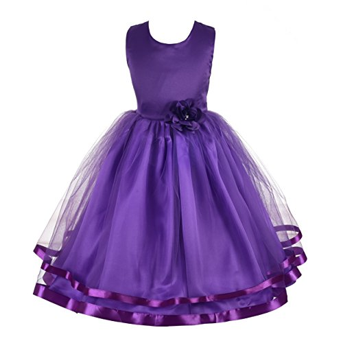 (Dressy Daisy Girls Wedding Flower Girl Dress Pageant Dress Ribbon Trimmed Tulle Size 6 Purple)