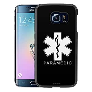 Samsung Galaxy S6 Edge Case, Slim Snap On Cover Silhouette Paramedic on Black Case