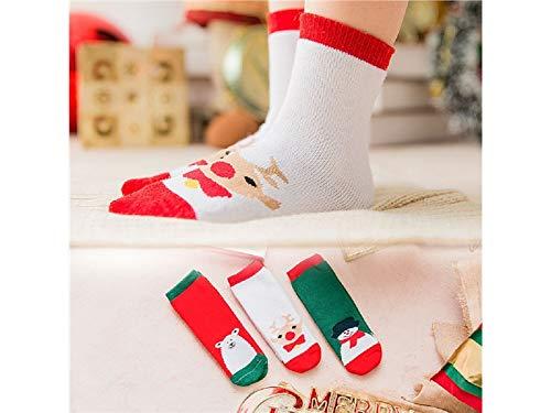 Gelaiken World Christmas 3 Pairs Children Cotton Socks Kids Autumn and Winter Christmas Terry Mid Tube Socks(Multicolor) by Gelaiken