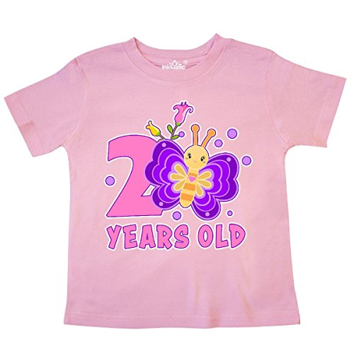inktastic 2 Years Old with Butterfly and Flowers Toddler T-Shirt 2T Pink