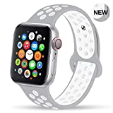 GZ GZHISY Newest Band Compatible for Apple Watch Bands 38mm 40mm, Soft Silicone Sport Band Replacement Wristband, Compatible for iWatch Apple Watch Series 4/3 2/1,Pure Platinum/White 38/40SM