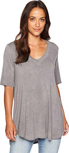 American Rose Women's Ally V-Neck Short Sleeve Top Charcoal Small