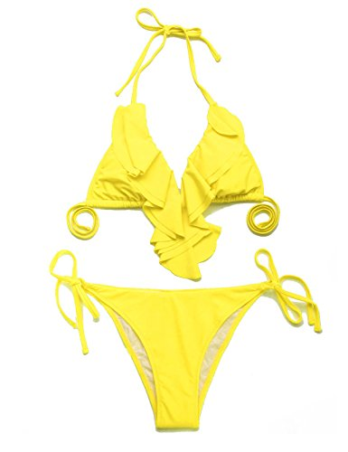RELLECIGA Women's Lined Ruffle Triangle Bikini Swimsuit, L, Yellow
