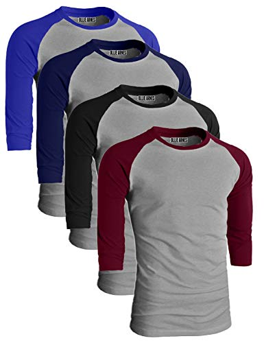 - OLLIE ARNES Men's Basic Crewneck 3/4 Sleeve Cotton T-Shirt Raglan Baseball Top LTGBK_LTGBUR_LTGRBLU_LTGNV L