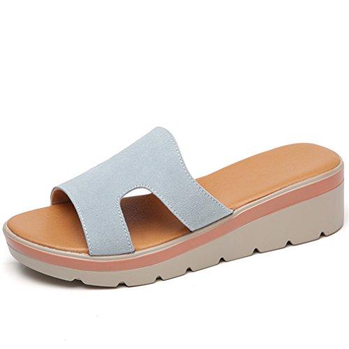 Glissières Slip Pantoufles Green On Femmes Dames Cuir 805 Toe Round Forme Chaussures Pantoufles Suède En Femmes Lumino Chaussures Tongs Plate PH500q