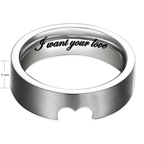 """""""I Want Your Love"""" Hollow Matching Heart Flat Couple Rings Mens Womens Stainless Steel White Wedding Bands, Christmas Gift for Boyfriend/girlfriend, Valentine Engagement Promise Matching Wide Rings, Tail Ring Thumb Ring (6mm, 8mm) (Size:8.0 (6mm Width))"""