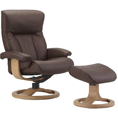 Fjords Scandic Leather Recliner And Ottoman   Norwegian Ergonomic  Scandinavian Reclining Chair In Cacao Soft Line Genuine Leather   Small  Walnut Wood R ...