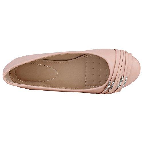 Stiefelparadies Klassische Damen Ballerinas Slippers Flats Übergrößen Flache Schuhe Metallic Spitze Glitzer Abendschuhe Flandell Apricot Strass