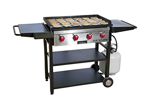 Camp Chef, Best Professional Restaurant Grade Cooking Flat Tog Grill with Grilling Surface and Side Shelves (One Fold Down Shelf)