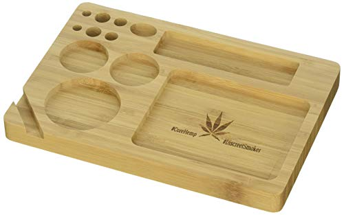 Bamboo Rolling Tray 9 x 6 Inches Cut Outs For Rolling Paper Grinder...