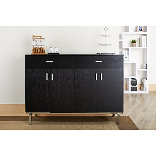 MattsGlobal Contemporary Black-finish Metal/Wood Frame Buffet/Dining Server (BLACK)