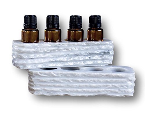 Chiseled Small Essential Oil Holder Case - Set of 2 - Each Piece has 4 Slots for 15ml Bottles (For 8 Oils Total) - 100% Hand Carved Onyx Stone (Gray Marble)