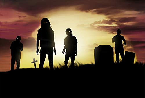 OFILA Halloween Zombie Backdrop 7x5ft Graveyard Photography Background Tombstone Shoots Halloween Eve Party Decoration Gloomy Photos Props