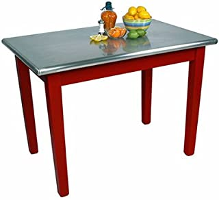"""product image for John Boos Cucina Americana Moderno Prep Table with Stainless Steel Top Size: 48"""" W x 24"""" D, Base Finish: Barn Red"""