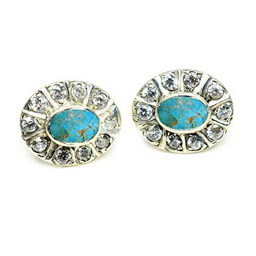 CHOOSE YOUR GEMSTONES COLOR Real Stud Earrings For Women 925 Sterling Silver Wedding Fashion Jewelry ()