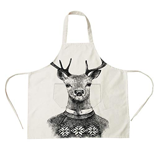 3D Printed Cotton Linen Big Pocket Apron,Indie,Hand Drawn Deer Portrait in a Nordic Style Knitted Sweater Hipster Christmas,Charcoal Grey White,for Cooking Baking -