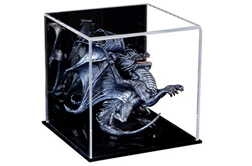Better Display Cases Versatile Acrylic Mirrored Display Case, Cube, Dust Cover or Riser with Black Base 5 x 5 x 5 A081-MDS
